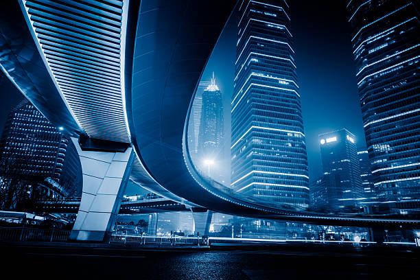 night scene of lujiazui financial district,shanghai,china stock photo