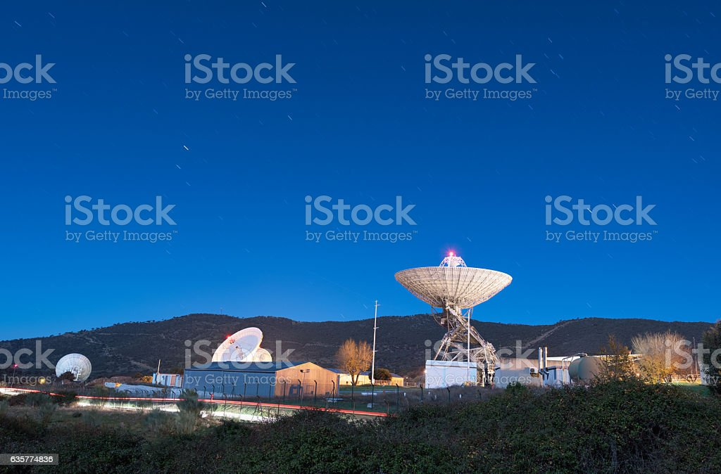 Night scene of Madrid Deep Space comunication complex. stock photo