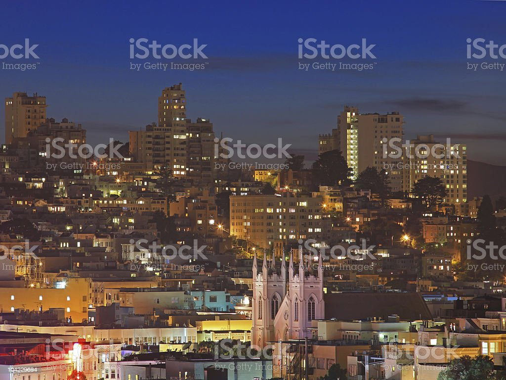 Night Scene of Nob Hill in San Francisco royalty-free stock photo