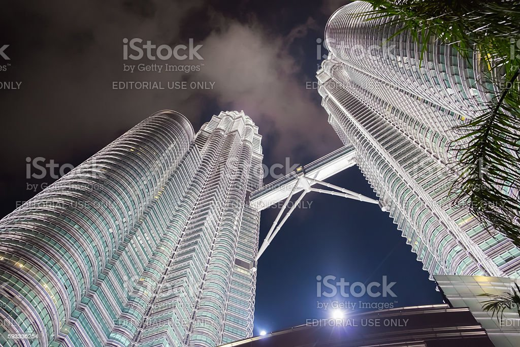 Night scene of Petronas twin towers stock photo