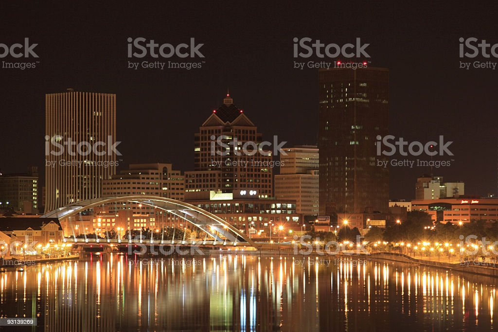 Night scene of Rochester stock photo
