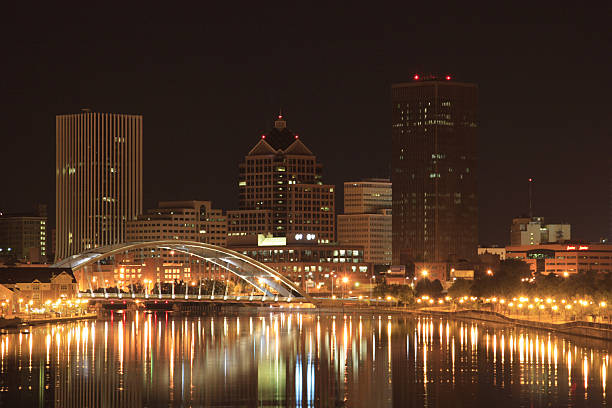 night scene of rochester - rochester ny skyline stock photos and pictures