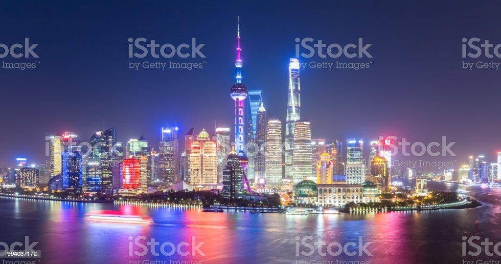 上海の街並みの夜景 - アジア大陸のロイヤリティフリーストックフォト