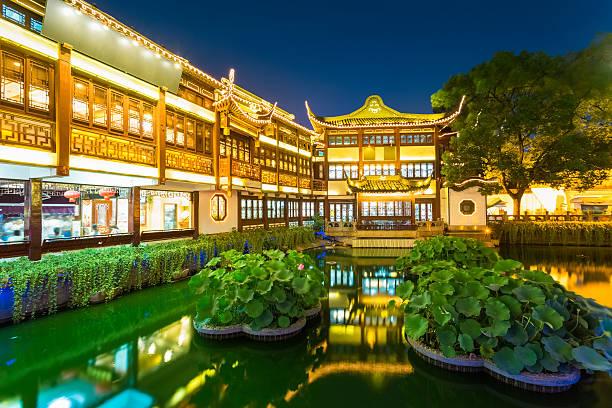 Nachtansicht von shanghai yuyuan – Foto