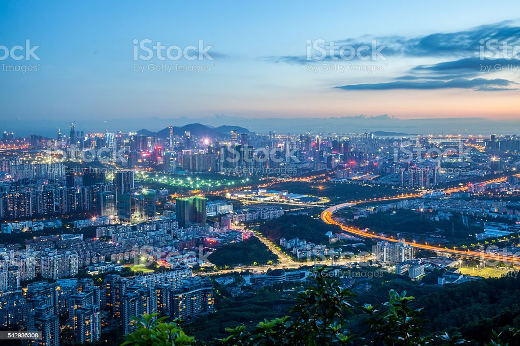 night scene of shenzhen stock photo