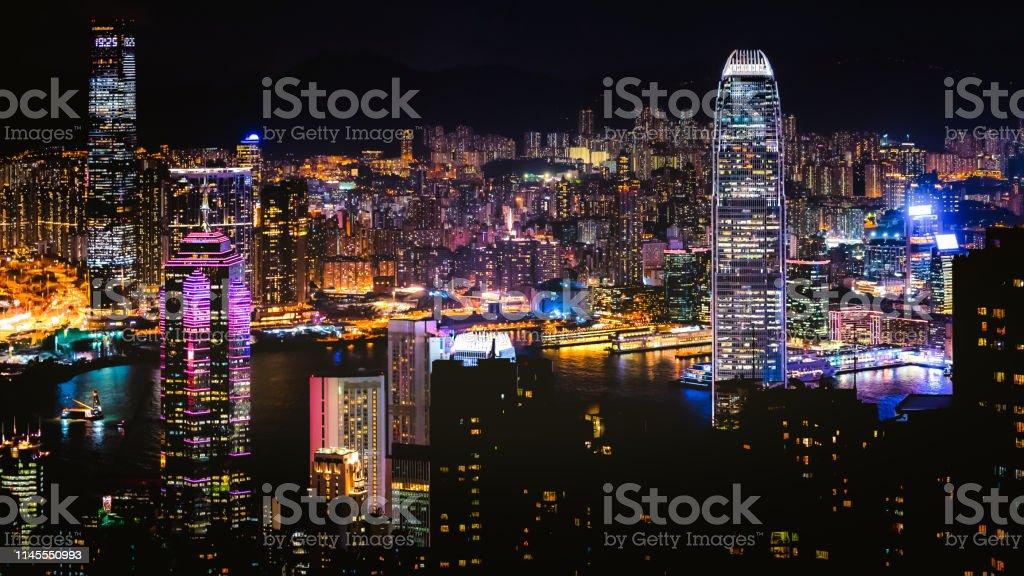 Night scene of skyscraper cityscape stock photo