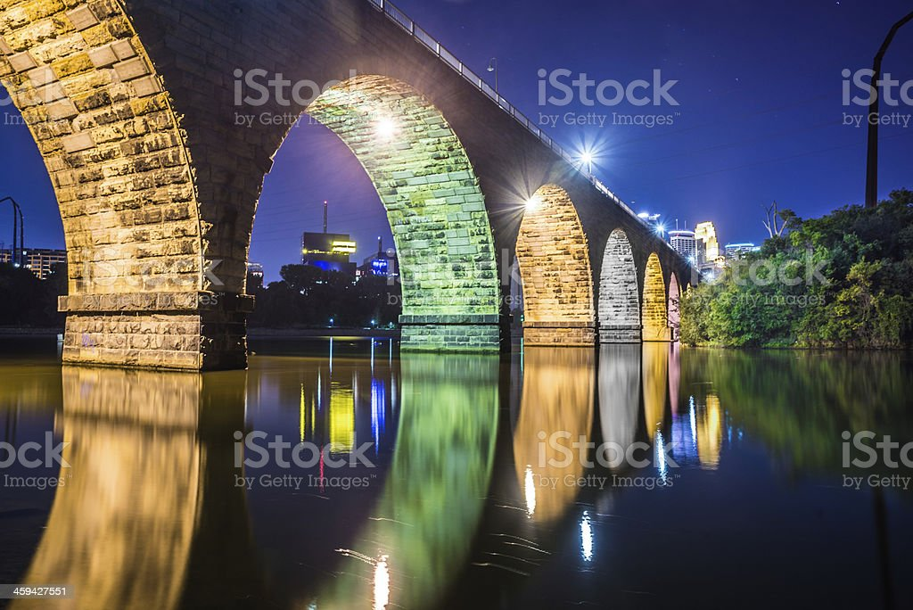 night scene of stone bridge stock photo