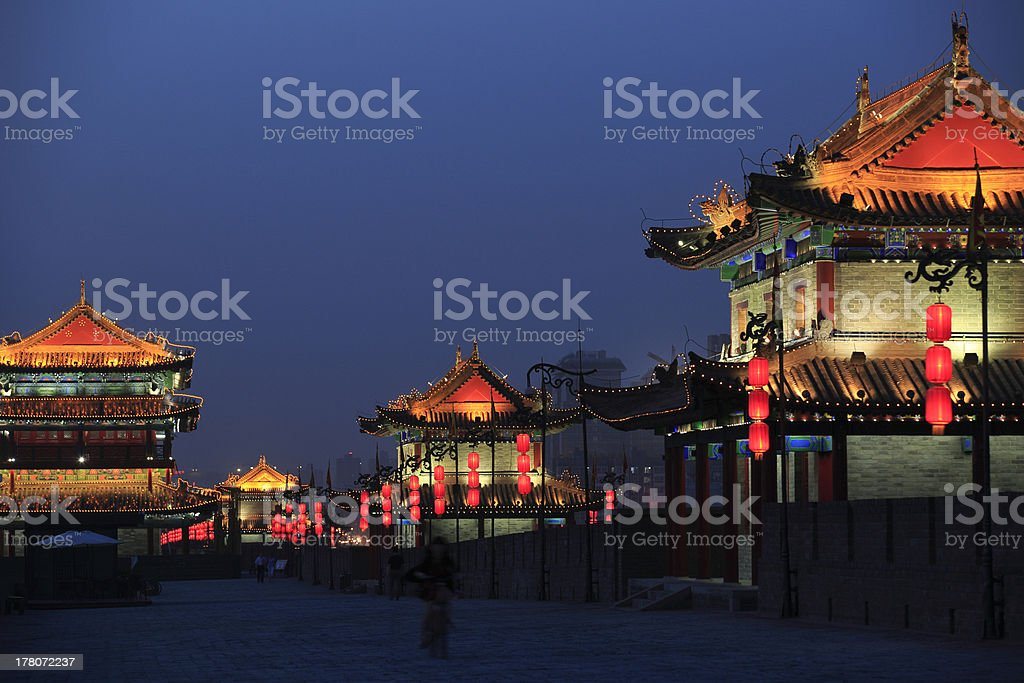 night scene of the ancient xian city wall royalty-free stock photo