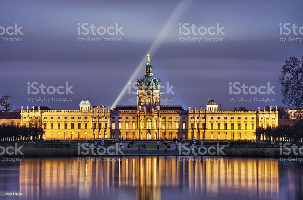 Night scene of the Charlottenburg Palance in Berlin, Germany stock photo