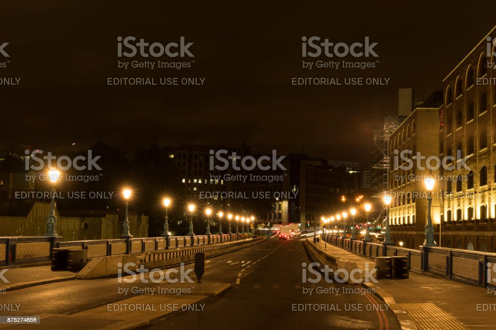 Night scene of the city London close Tower Bridge stock photo