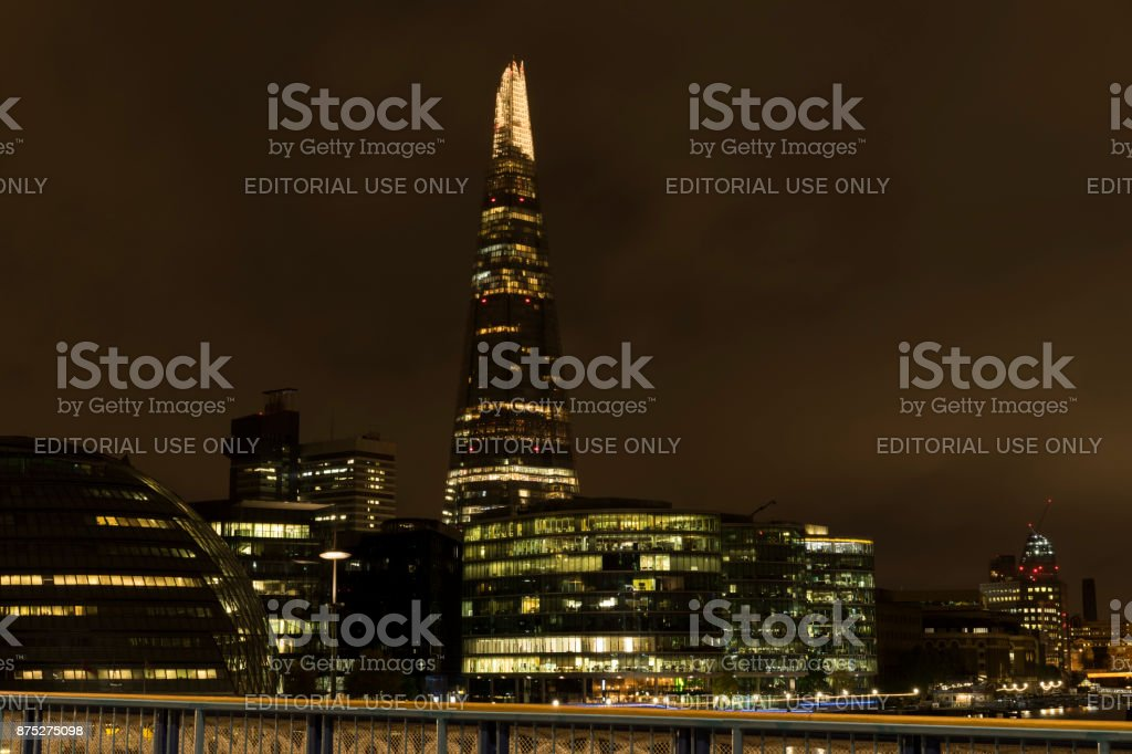 Night scene of the city London in England with the Shard in background stock photo