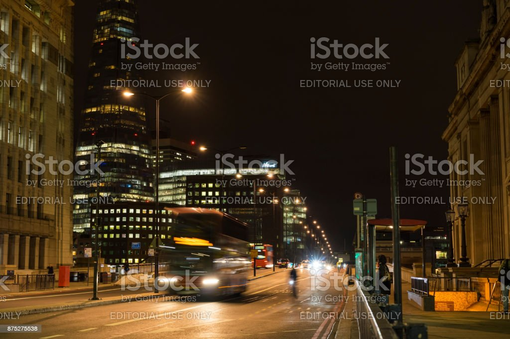 Night scene of the city London with traffic on street stock photo