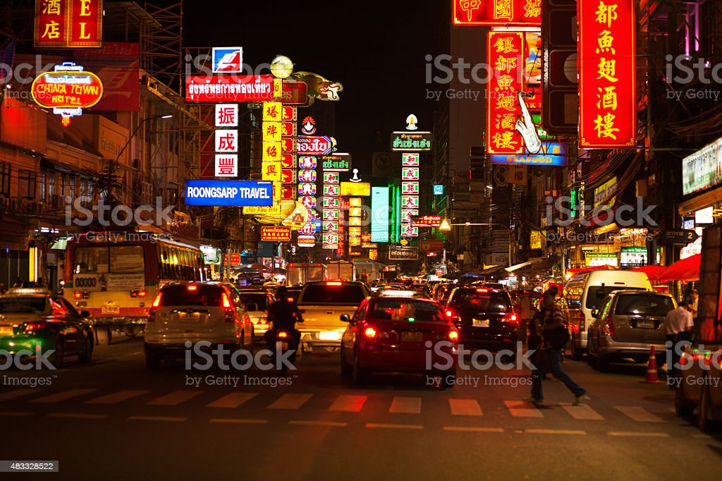 Night scene on Yaowarat Road stock photo