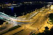 Night scene on the shore of the river Danube