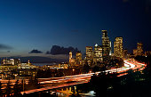 Light trail of Downtown Seattle during blue hour