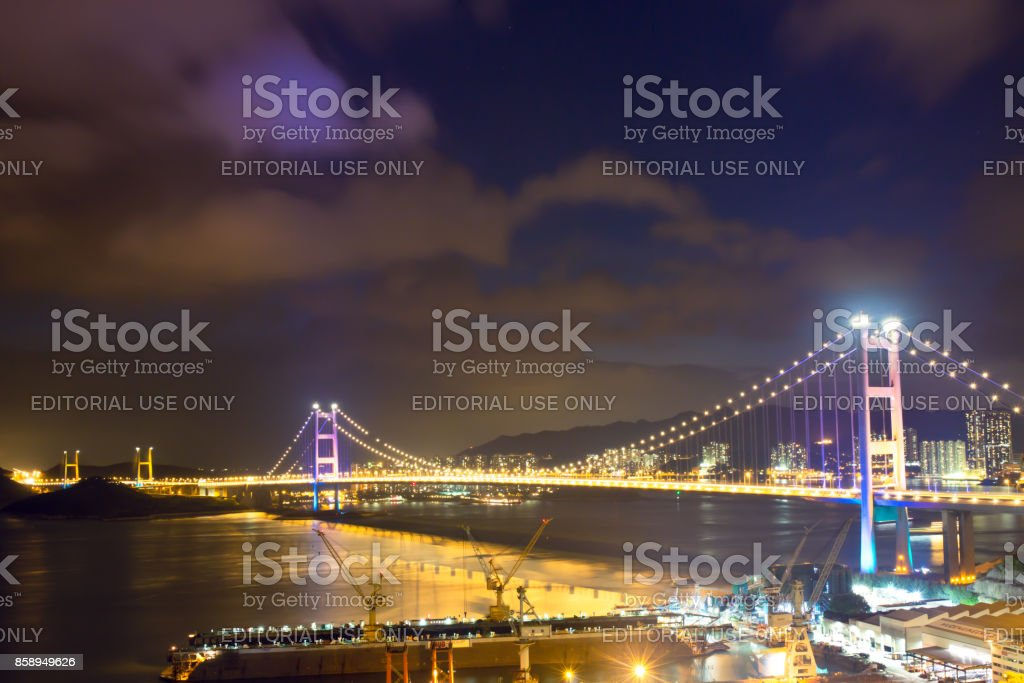 Night scene Tsing Ma double-decked suspension bridge. stock photo