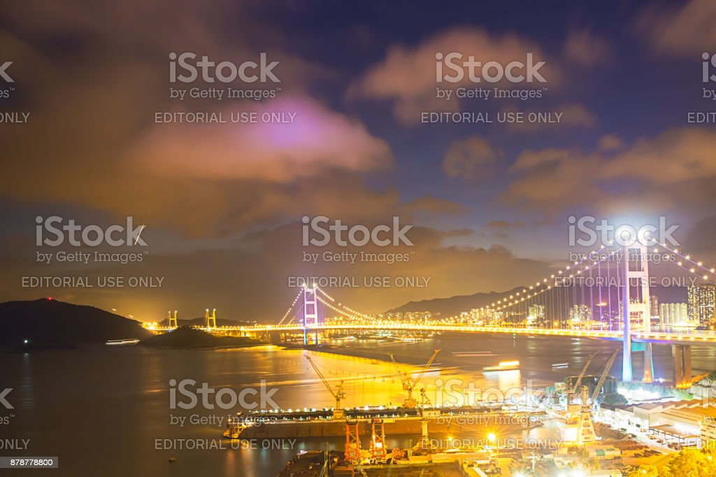 Night scene Tsing Ma double-decked suspension bridge.Tsing Ma bridge was named after two of the islands at its ends, namely Tsing Yi and Ma Wan stock photo