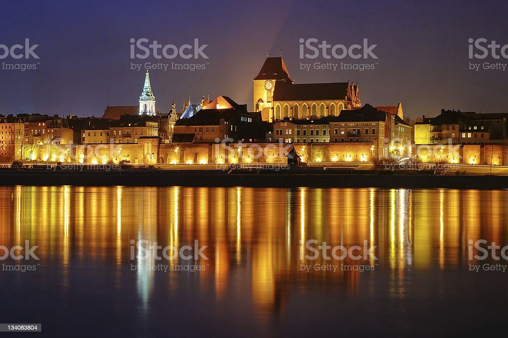 Night scene with medieval city royalty-free stock photo