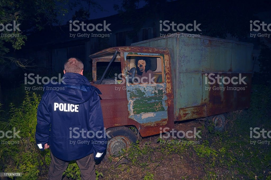 Night Scene With Policeman and Monster in Old Car royalty-free stock photo