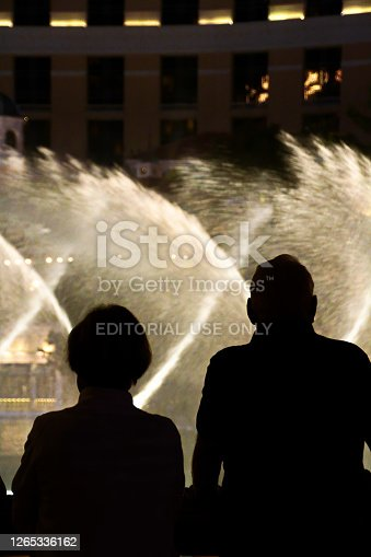 Las Vegas,NV/USA - Oct 30,2018 : Night scene with silhouettes of people admiring the Bellagio fountains spectacle at Las Vegas