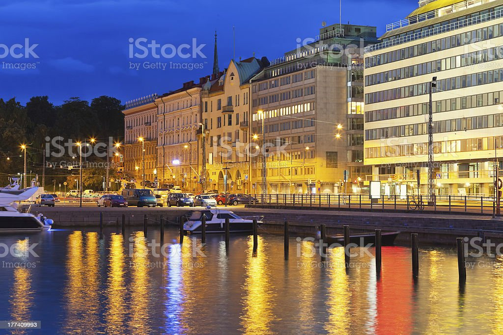 Night scenery of Helsinki, Finland royalty-free stock photo