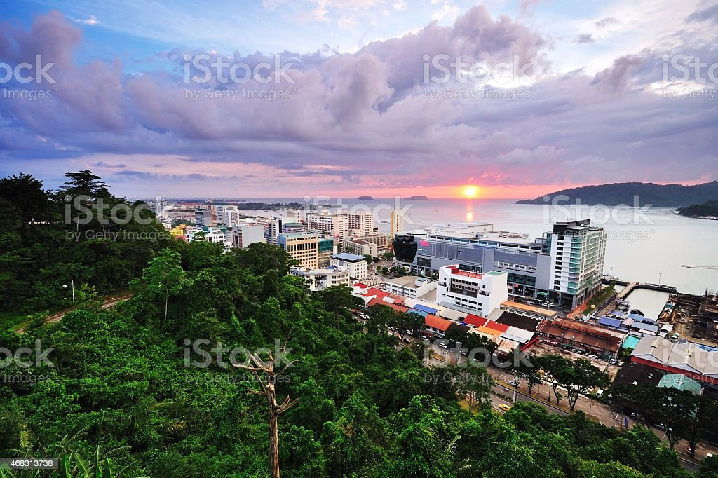 Night scenery of Kota Kinabalu City after sunset stock photo