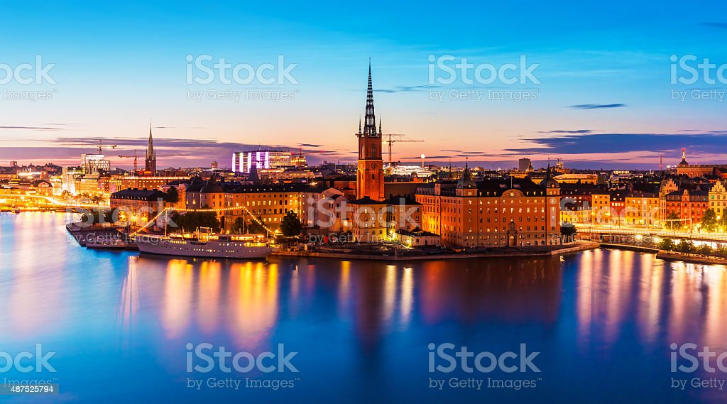 Night scenery of Stockholm, Sweden stock photo