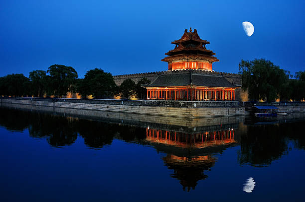 night scenery of the Forbidden city in Beijing, China night scenery of the corner tower of the Forbidden city in Beijing, China forbidden city stock pictures, royalty-free photos & images