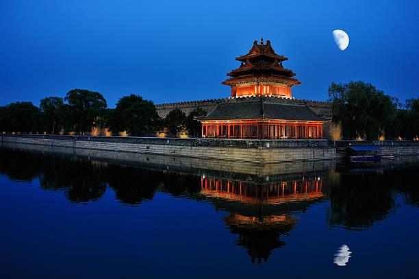 night scenery of the Forbidden city in Beijing, China stock photo