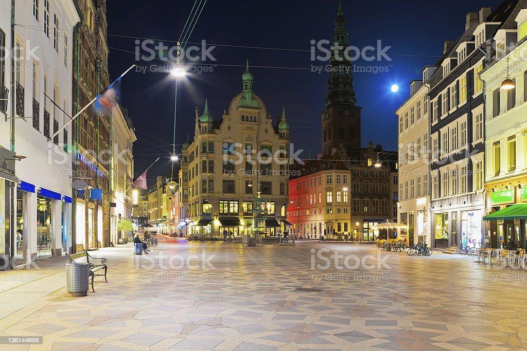 Night scenery of the Old Town in Copenhagen, Denmark royalty-free stock photo