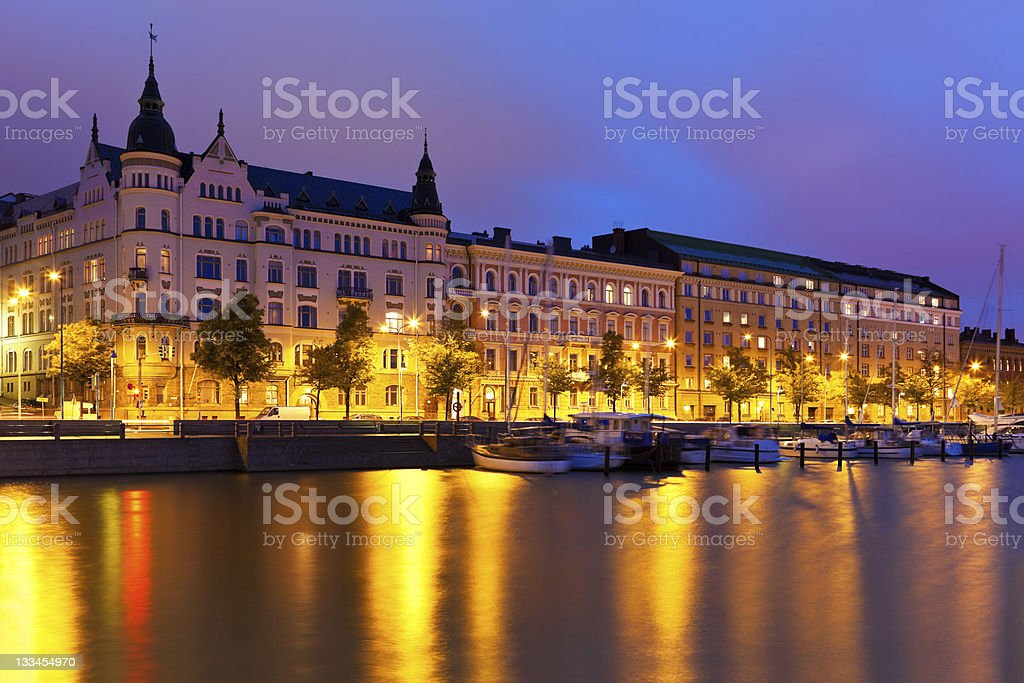 Night scenery of the Old Town in Helsinki, Finland royalty-free stock photo