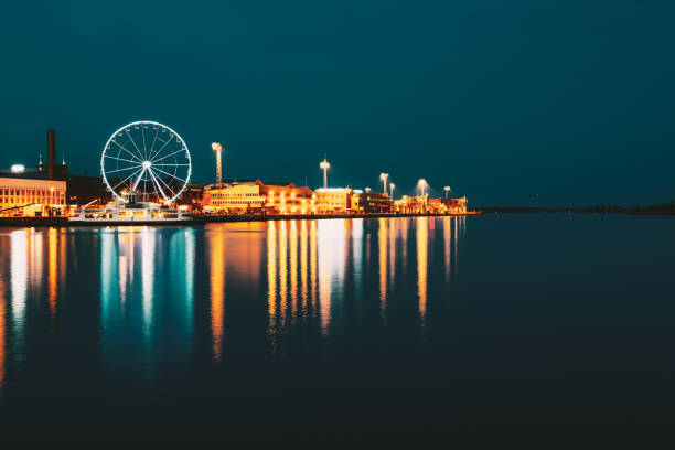 Night Scenery View Of Embankment With Ferris Wheel In Helsinki, Finland stock photo