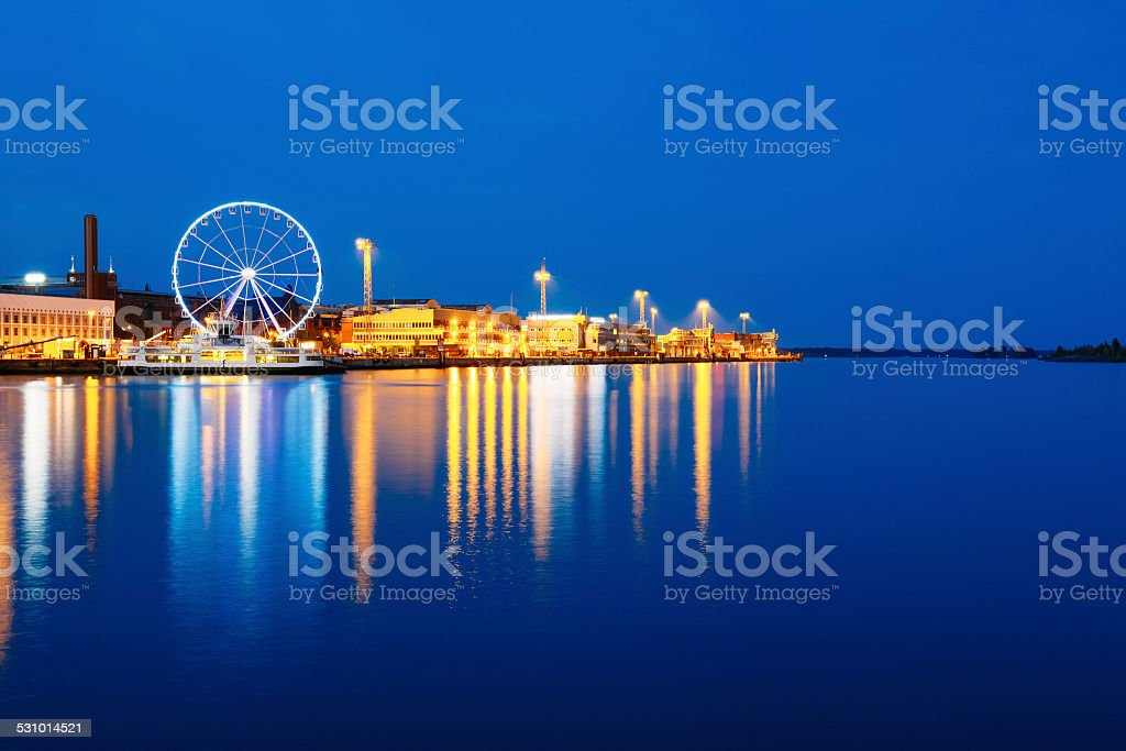 Night Scenery View Of Embankment With Ferris Wheel In Helsinki, stock photo