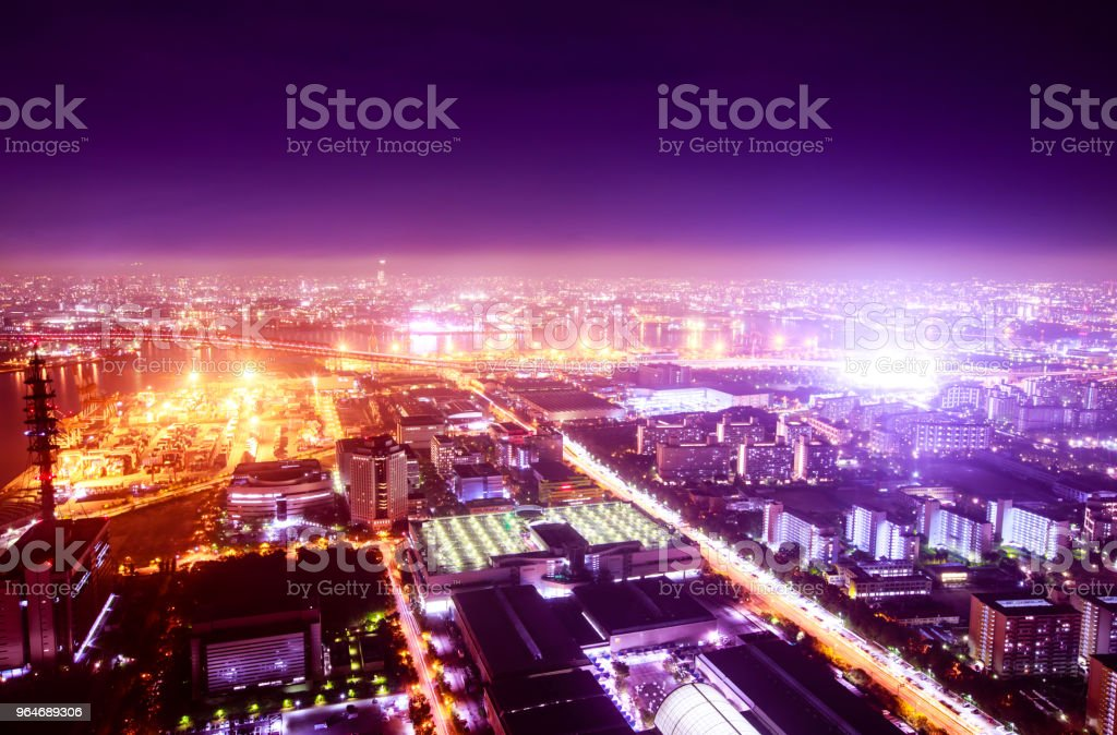 Night sea and horizon and town and factory royalty-free stock photo