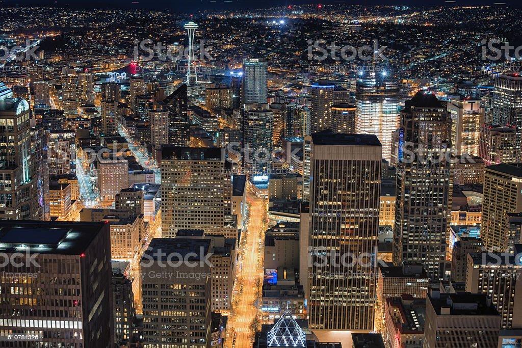 Night Seattle stock photo