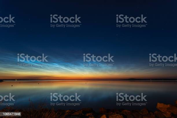 Photo of Night shining clouds over lake
