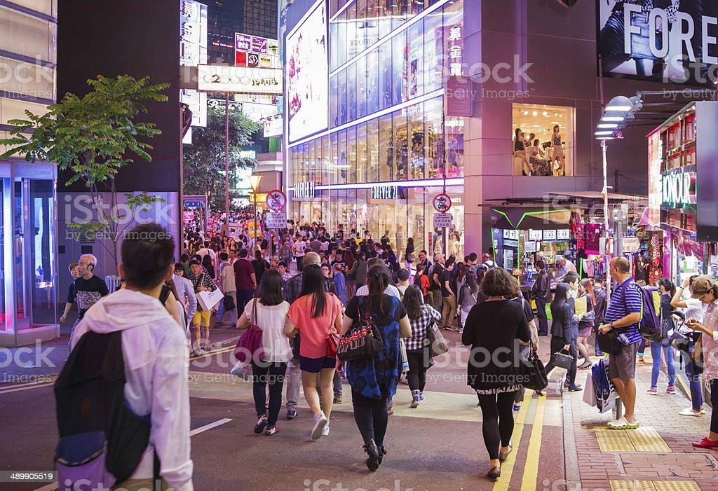 Night shopping in Causeway Bay Hong Kong stock photo