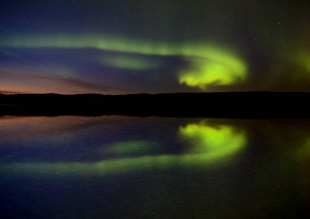Night Shot Northern Lights stock photo
