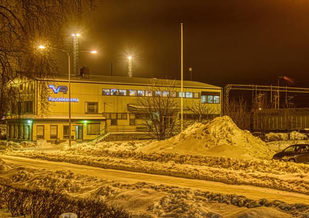 Night shot of a freight train station in Rauma, Finland stock photo