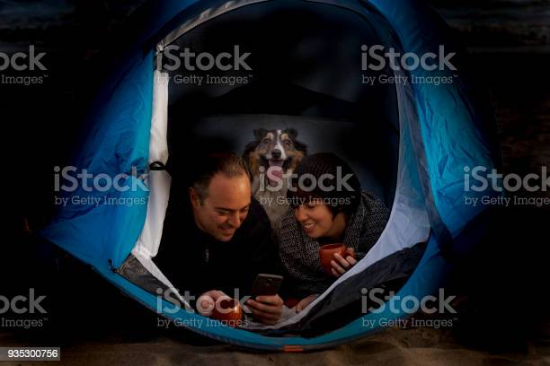 Night shot of beautiful couple with dog inside a tent picture id935300756?b=1&k=6&m=935300756&s=612x612&h=b8xe2gfxomwjrn9rn0zfh3roxvxllv qjyjchp0kj68=