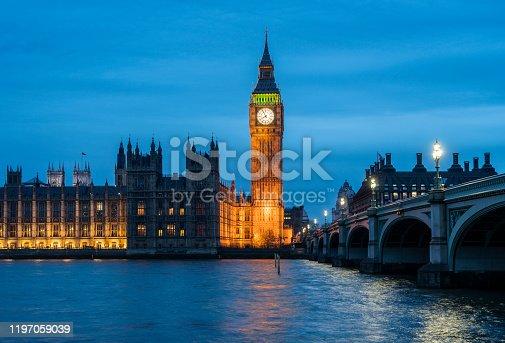 Night shot of Big Ben and Westminster Bridge in London