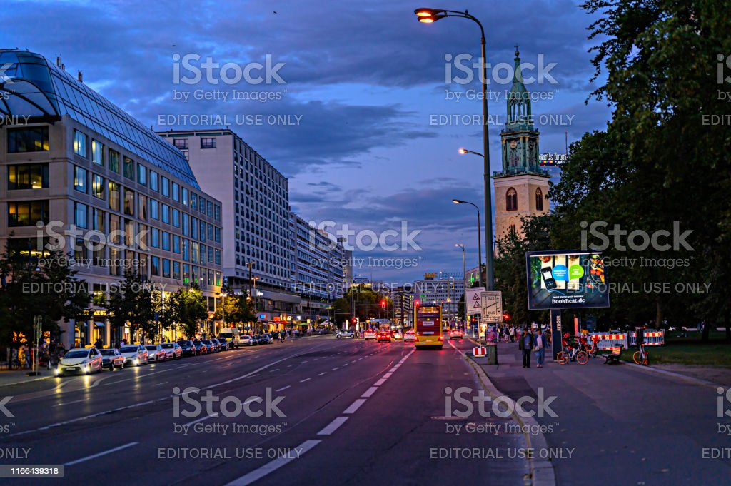 Night shot of city life on a big street in the Berlin city center...