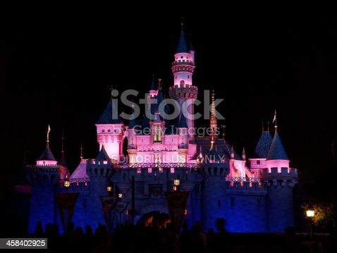 Anaheim, CA, USA - September 30th, 2013.  Exterior image of entrance to Sleeping Beauty Castle in Disneyland as seen at night.