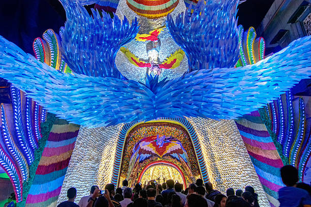 Night shot of Durga Puja Pandal, Kolkata, West Bengal, India stock photo