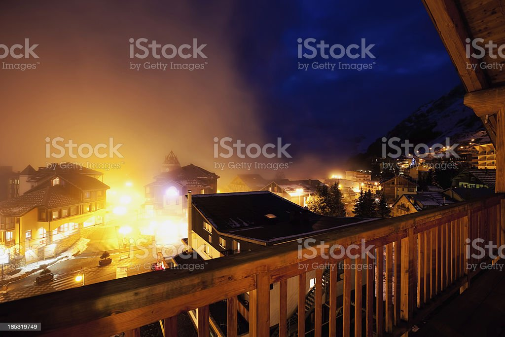 Night shot of France ski resort Les 2 Alpes stock photo