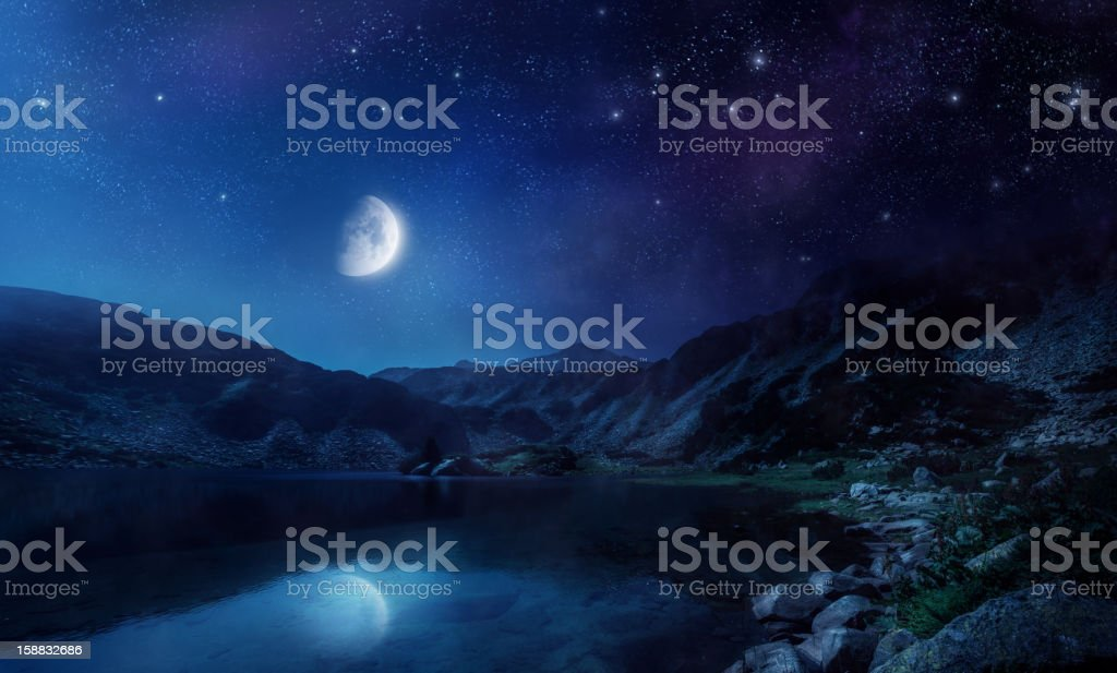 Night shot of lake stock photo