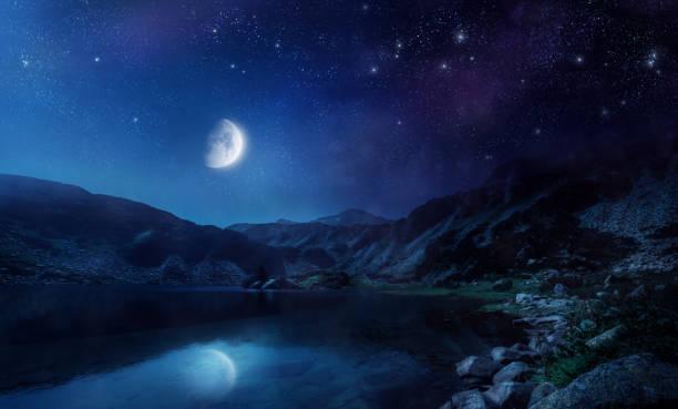Night shot of lake stock photo