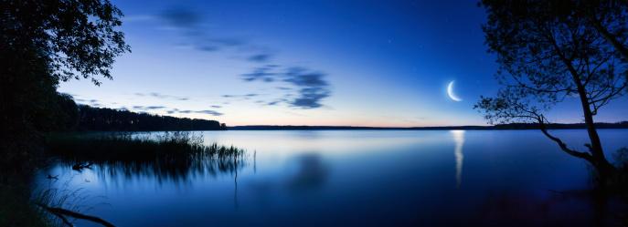 Panoramic shot of lake at night.