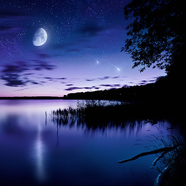 night shot of lake - romantic moon stock photos and pictures