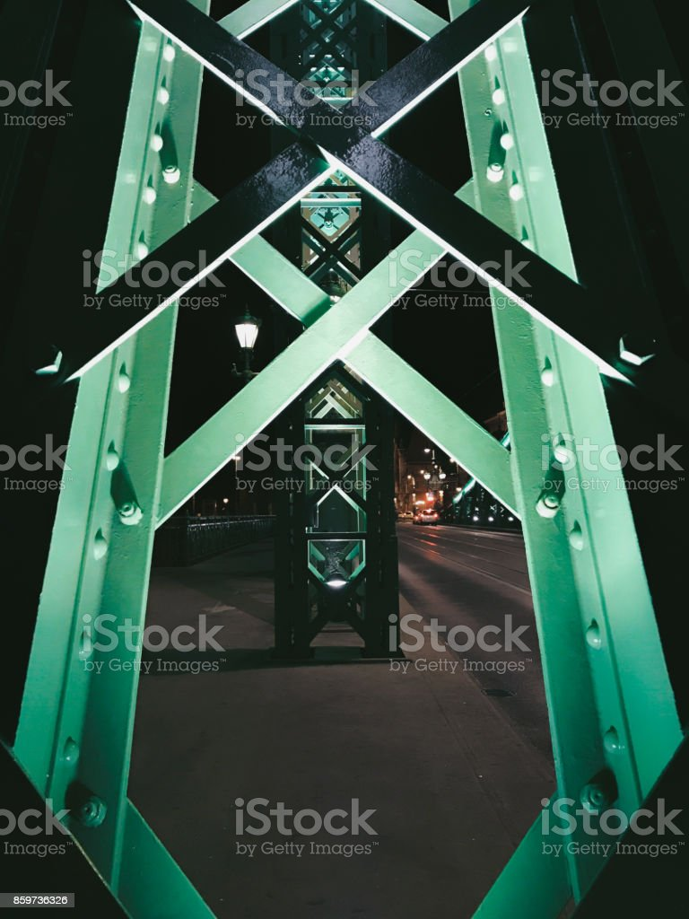 A night shot of Liberty Bridge, also known as Green Bridge, in Budapest stock photo